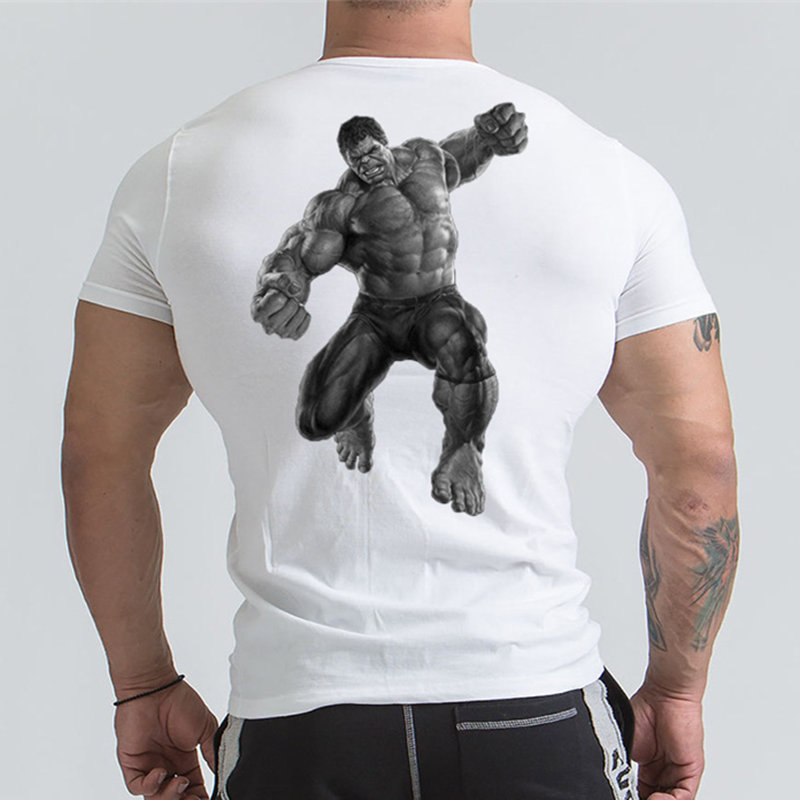 Marvel Hulk   T     Shirt   Avengers Printed Short sleeve   T  -  shirts   Men Gyms Workout Tee Cotton Fitness Clothing 2018 Male Crossfit Tops