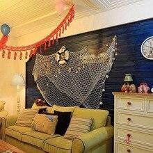 Wall Hanging  Decorative Nautical Fishing Net Cotton + Shell Seaside Wall Beach Party Sea Shell Hanging Decor 100 x 200 cm