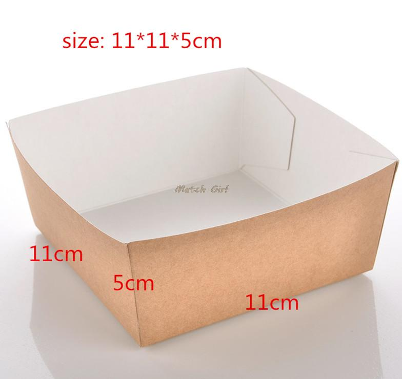 100pcs/lot-11*11*5cm Disposable Kraft Paper French Fries Box Fried Chicken Popcorn Dessert Storage Box DIY Party Food Package