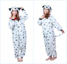 Inverno Polare del panno morbido Dalmata Spotty Dog Fleece Tutina Homewear Con Cappuccio, Pigiami Degli Indumenti Da Notte Vestaglia Per Adulti Party dress(China)