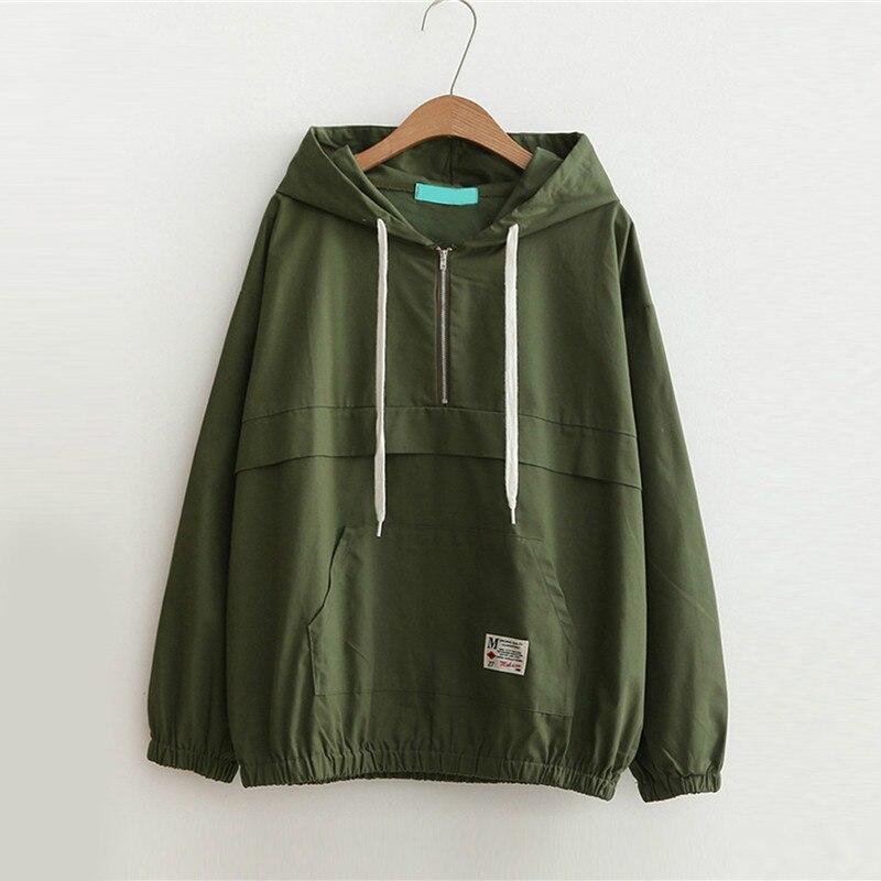 2019 Fall Winter Casual Jacket Drop Shoulder Kangaroo Pocket Anorak Jacket Zipper Sporty Hooded Plain Women Coat