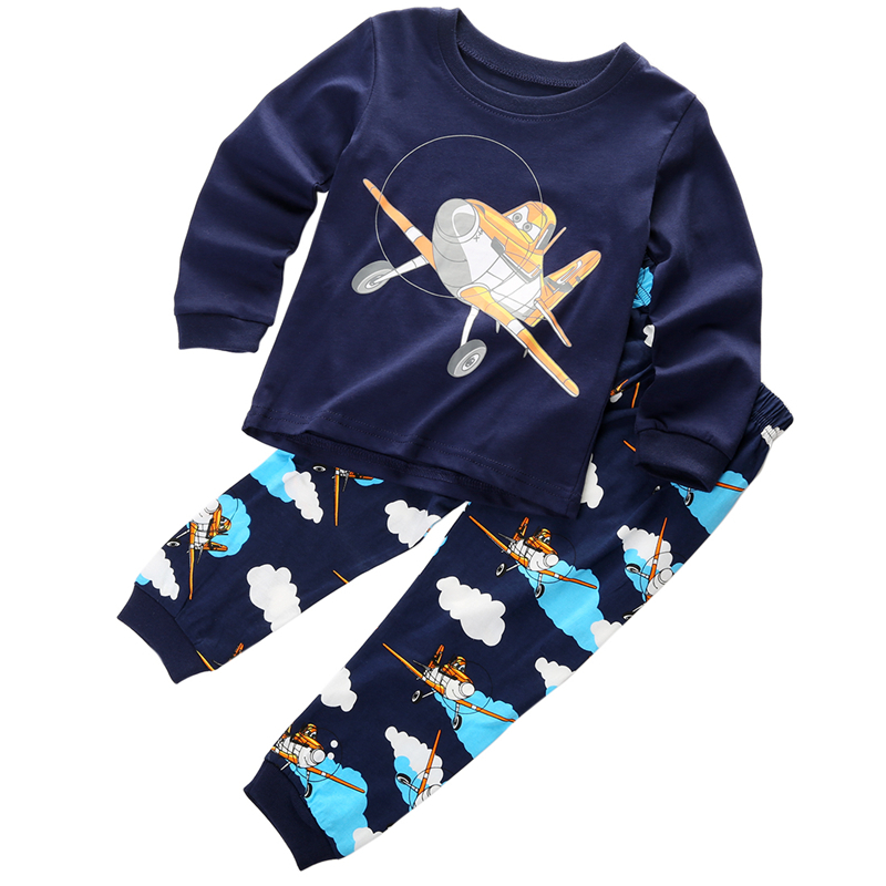 Baby Girls Boys Planes T-shirt Top+Pant Pajamas 2017 New Arrival Fashion Sleepwear Outfit Set Clothes For Girls Boys Age 1-7Y 2015 new arrive super league christmas outfit pajamas for boys kids children suit st 004