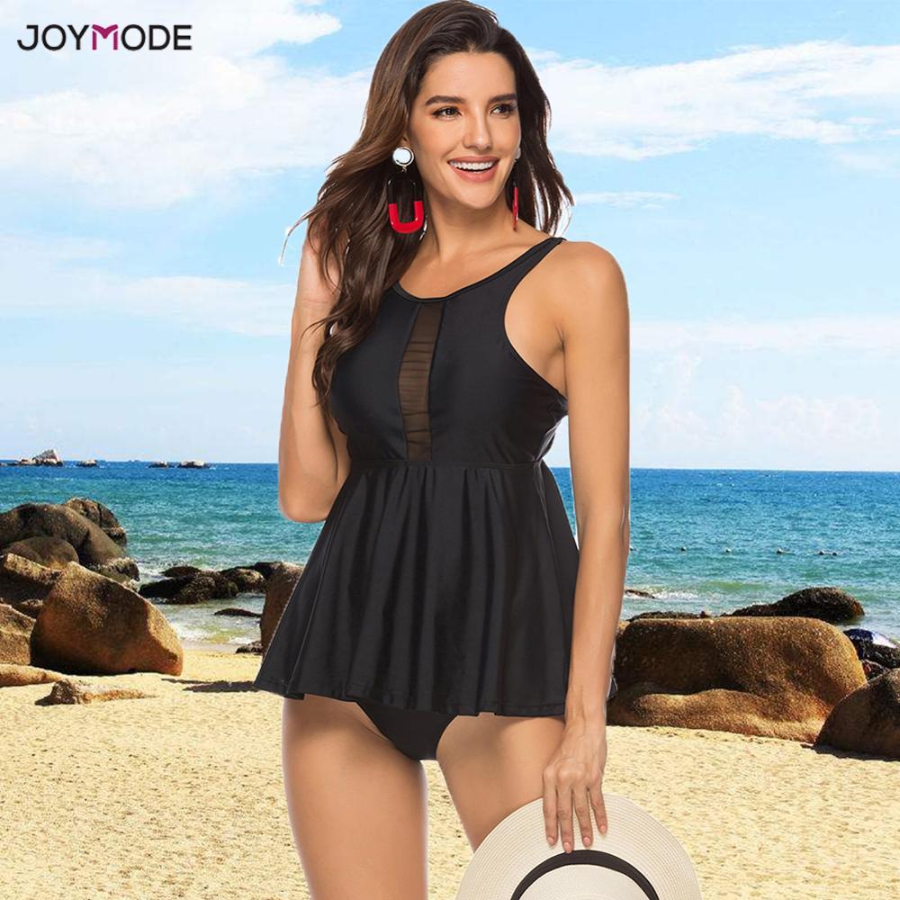 JOYMODE Two Piece Bikini Skirt Plus Size 5XL Swimsuit Women Bath Suit Dress Mujer Sexy BeachWear Brazilian Tankini Swim Dress