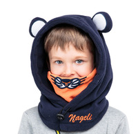 Winter Outdoor Tiger Soft Neck Warmer Fleece Hats For Baby Boys Girls Shawl Hooded Cowl Beanie