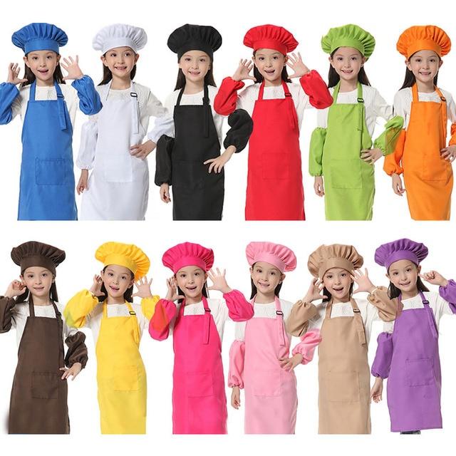 Avental infantil de manga, chapéu de bolso com estampa de logotipo para crianças, jardim de infância, cozinha, assar, pintura, alimentação, bebida, tablier
