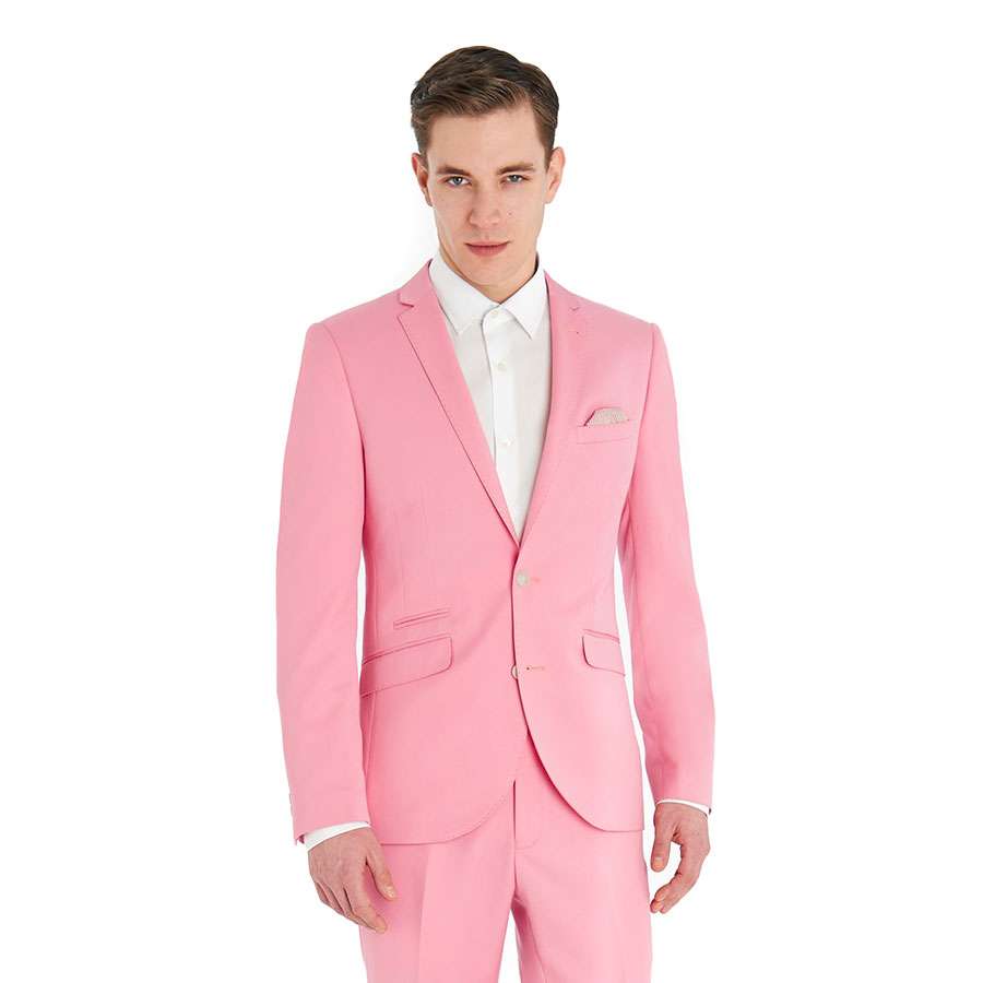 Handsome Tailor Made Pink Groom Tuxedos Slim Fit Mens