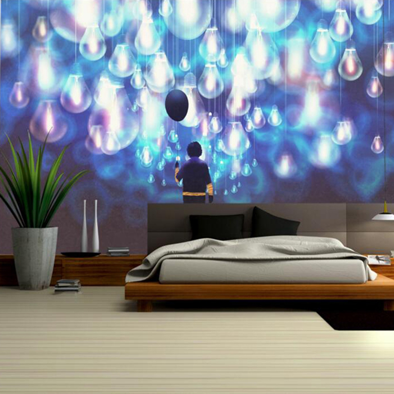 Custom Photo Wallpaper Dream Hand Drawn Boy Blue Wallpaper ...