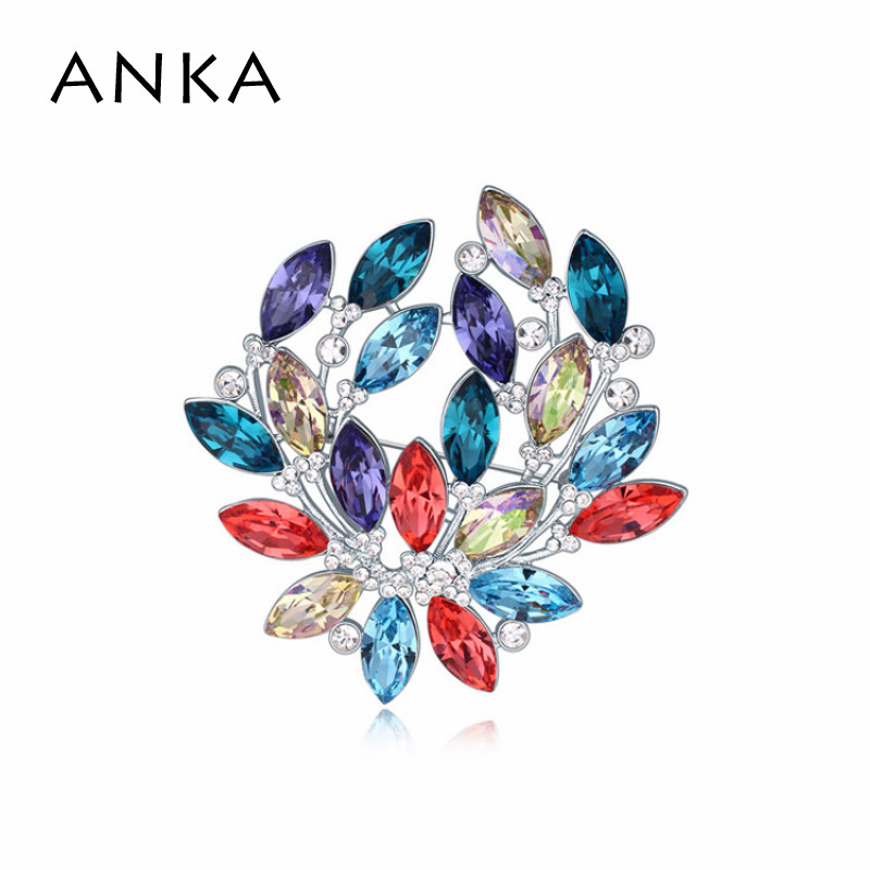 ANKA Brooches Shiny Flower Crystal Brooches Ornaments Clamp Accessory Main Stone Crystals from Austria #112818 perpetuum shiny 22 22 22