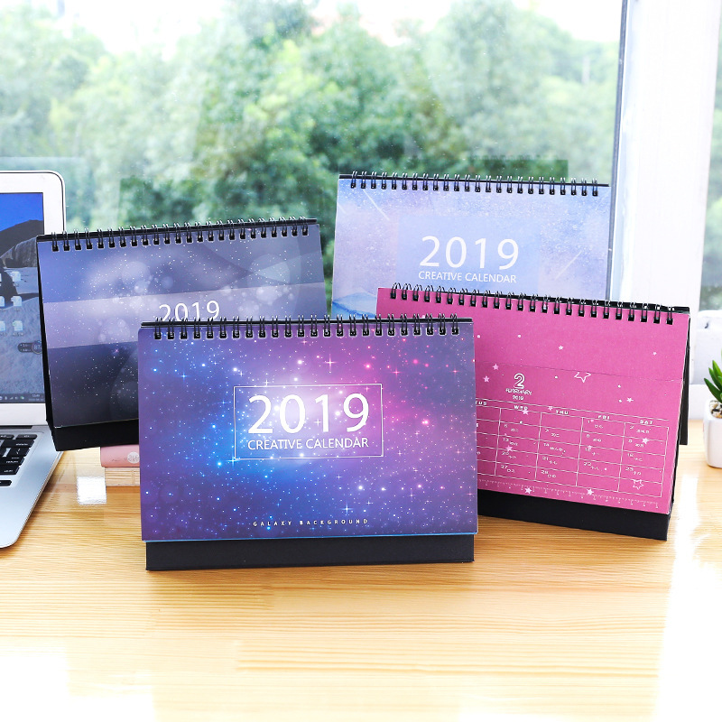 2019 Beatiful Starry Sky Calendar DIY Table Calendars Multifunction Storage Pocket Daily Schedule Planner все цены