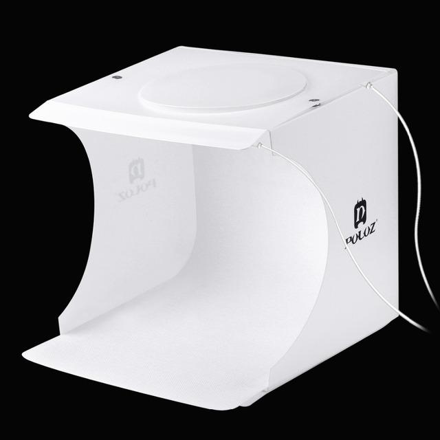 2 LED Panels Mini Folding Studio 8″ Diffuse Soft Box Lightbox with Black White Photography Background Photo Studio box