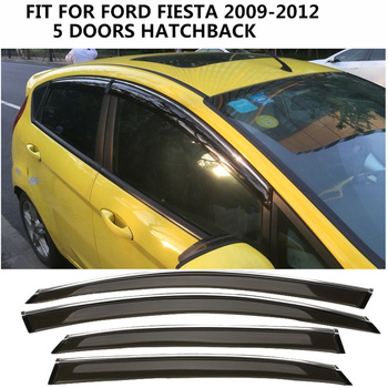 OWIEWKI NA DRZWI pokrywa 4 PC wysokiej jakości czarny plastik ABS akcesoria samochodowe zmodyfikowane dekoracje przeciwdeszczowa dla FORD FIESTA 2009- 2012