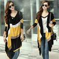 Women Long Cardigans Spring Coat 2016 Stripes Knitted Sweater Pull  Outerwear Gilet  Casual C234