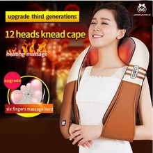 JinKaiRui U Shape Electrical Shiatsu Back Neck Shoulder Massager Body Infrared Heated Kneading Massagem Multifunctional Car Home