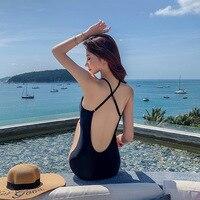 One Piece Swimsuit Women Bikinis Female 2019 Swimming Suit Bikini One Piece Korea New Lace Back Feminine Patchwork Polyester