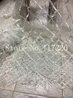 Embroidery french net lace fabric white color for wedding dress/evening dress new design with feather and beads