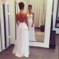 White Beach Wedding Dress Fashion Backless Bridal Wedding Gown Open Back Reception Dress Women Free Shipping HS256