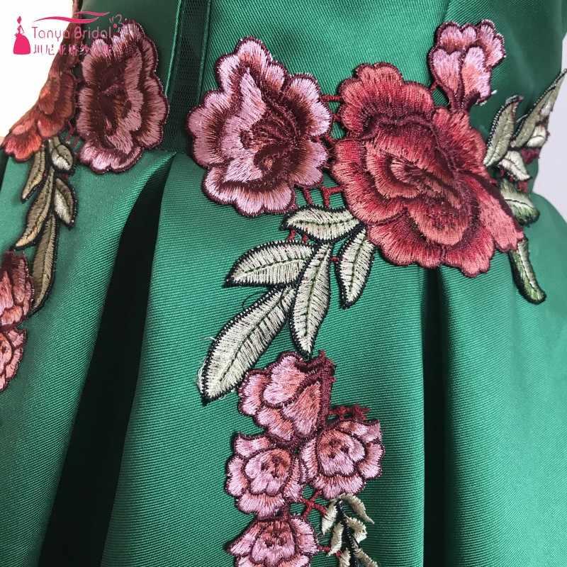 כהה ירוק רקמה קצר שמלות נשף 2018 בציר מיני כדור שמלת סאטן לנשף שמלות קצר שרוולים