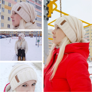 Image 5 - Furconverte chapéu de malha feminino, gorro slouchy para meninas a047