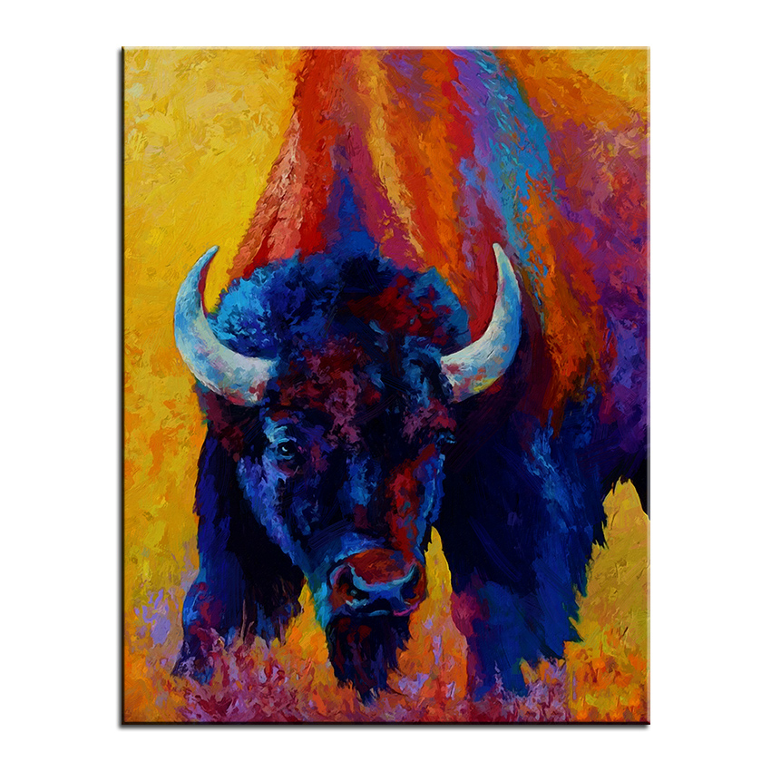 Animal Large size Print Oil Painting back off bison Wall painting ...