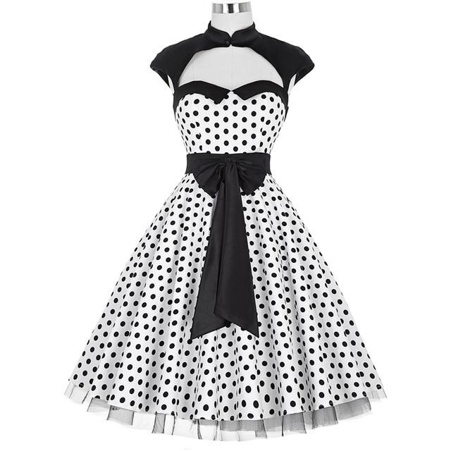 la mejor actitud bdfec d0abc € 26.47 45% de DESCUENTO|Vestido Vintage de los años 50 ropa de las mujeres  del verano Sexy Polka Dots con arco grande Swing Casual Oficina Retro bata  ...