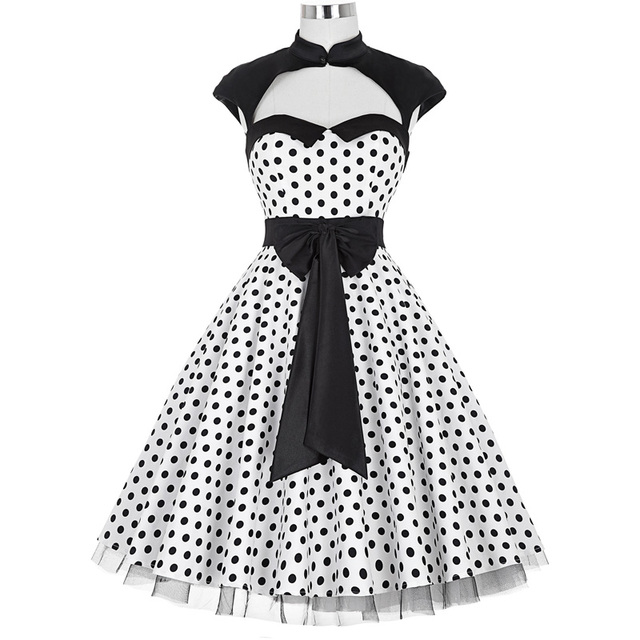 320a5de5d Vintage 50s Dress Summer Women Clothes Sexy Polka Dots With Bow Big Swing  Casual Office Retro Robe Pinup Dresses Vestidos 2018