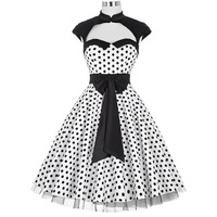 Vintage 50s Dress Summer Women Clothes Sexy Polka Dots With Bow Big Swing Casual Office Retro Robe Pinup Dresses Vestidos 2018