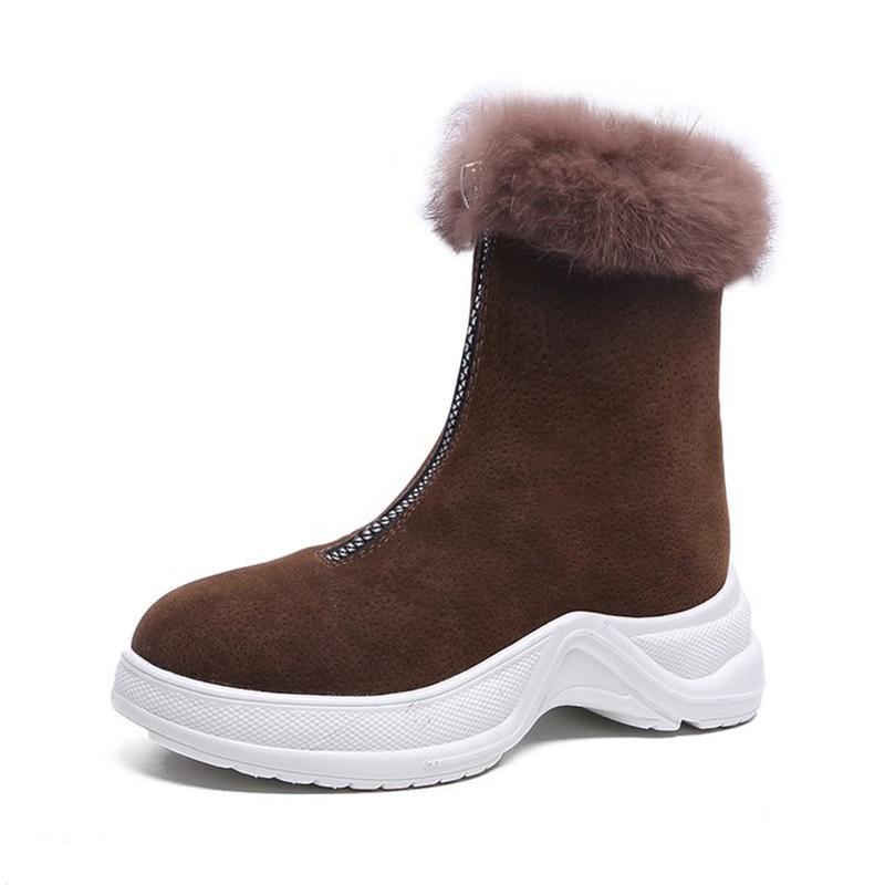 9a6b1d3d Altas Zapatos Otoño Nuevo Cremallera Fondo Las Botas Caliente Mujeres 2018  De Nieve Khaki negro Mayor Grueso La Invierno ISxXdw