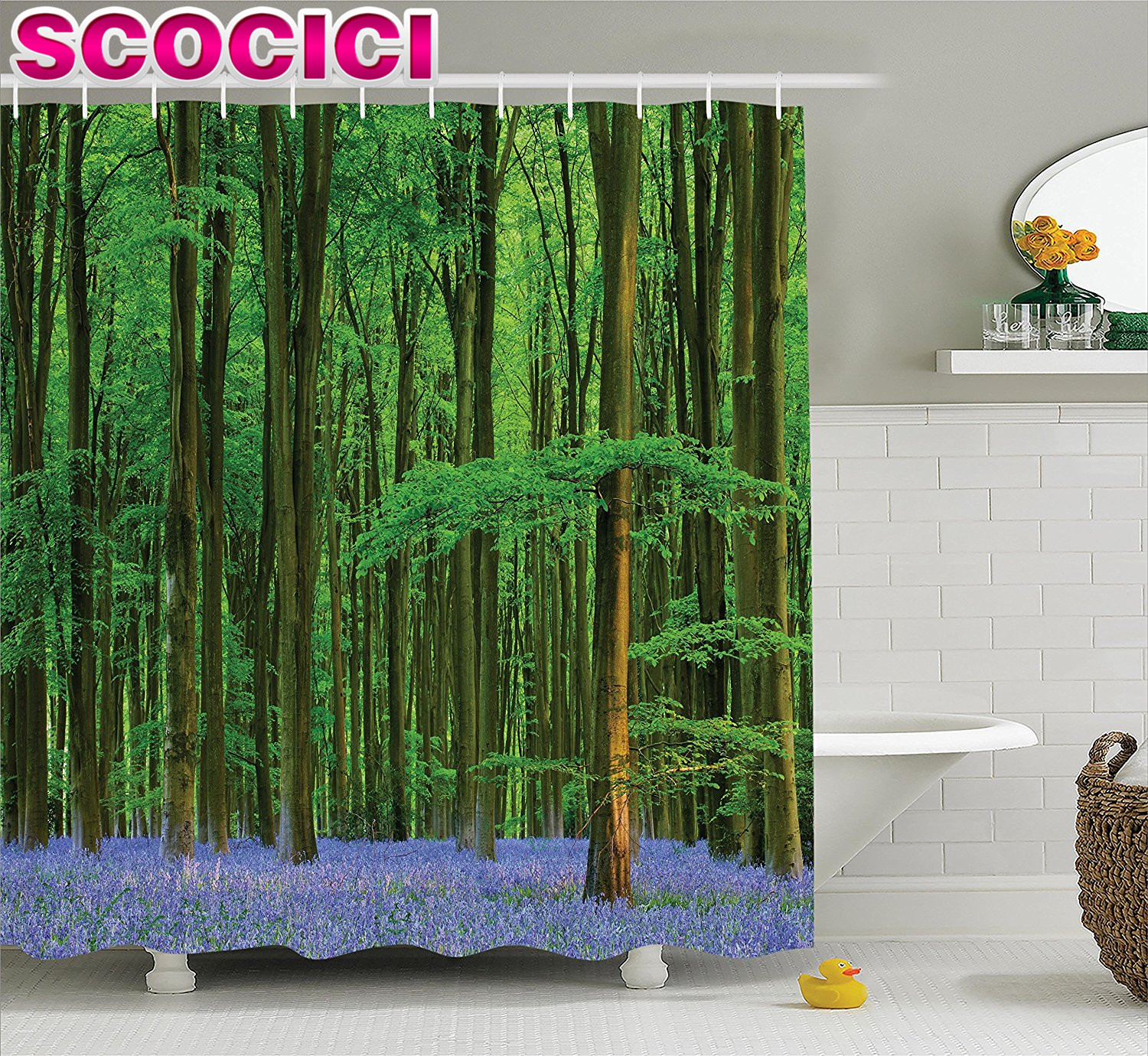 Woodland Decor Shower Curtain Set Spring Sunshine In A Bluebell Wood Summer Dream Holiday Getaway Destination