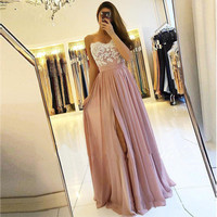 Spaghetti Strap Dusty Rose Blush Evening Dresses 2020 Prom Gowns with Slit Cheap Lace Bodice Chiffon A Line Abendkleider