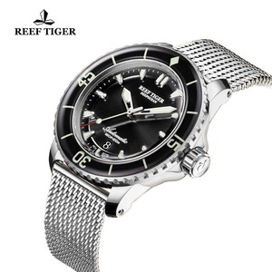Image 5 - Reef Tiger/RT Top marka męskie mechaniczne zegarki do nurkowania szafirowa kryształowa bransoletka zegarki niebieski zegarek świetlny wodoodporny RGA3035