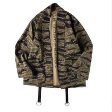 Japanese Camo Kimono Hip Hop Man Open Stitch Coats Streetwear Casual Camouflage