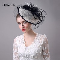 Black and Ivory Vintage Women's Hats Feathers Linen Bridal Hats with Face Veil Women's Hair Accessories chapeau mariage SH01