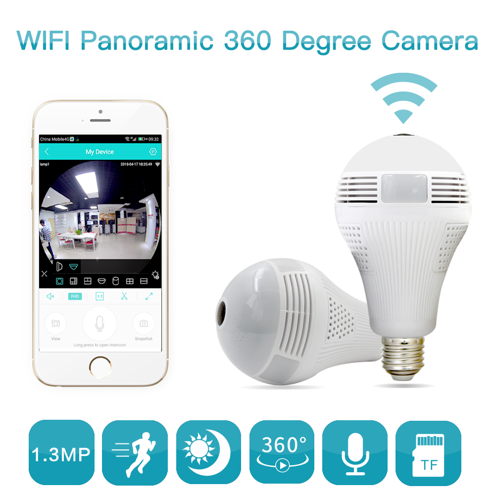 960P 360 degree Smart Home Wireless IP Camera Bulb Light FishEye CCTV 3D VR Camera 1.3MP Home Security WiFi Camera Panoramic new ip camera network camera vr 360 degrees wifi wireless 3d fisheye panoramic light camera network light bulb home security