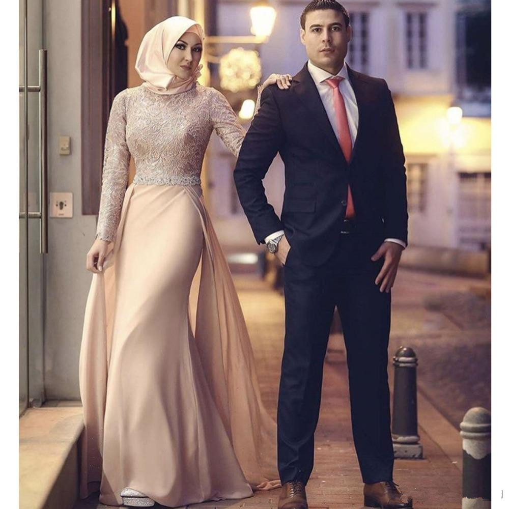 Elegant Muslim   Evening     Dresses   2019 Mermaid Long Sleeves Chiffon Lace Beaded Islamic Dubai Saudi Arabic Long Formal   Evening   Gown