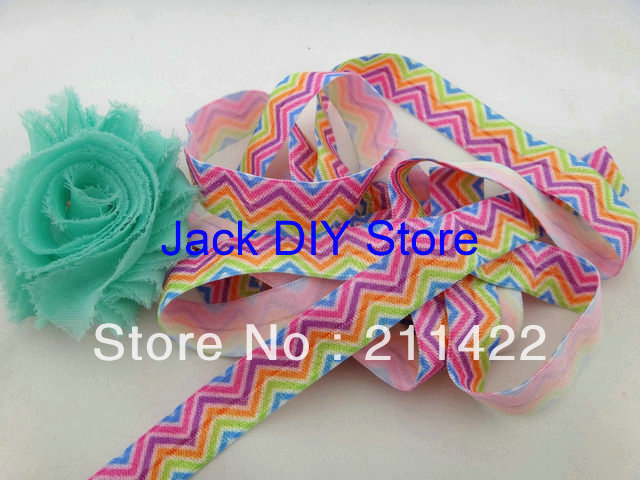 10 Yards Neon Colorful Rainbow Chevron Elastic for Baby Headbands, Elastic By The Yard