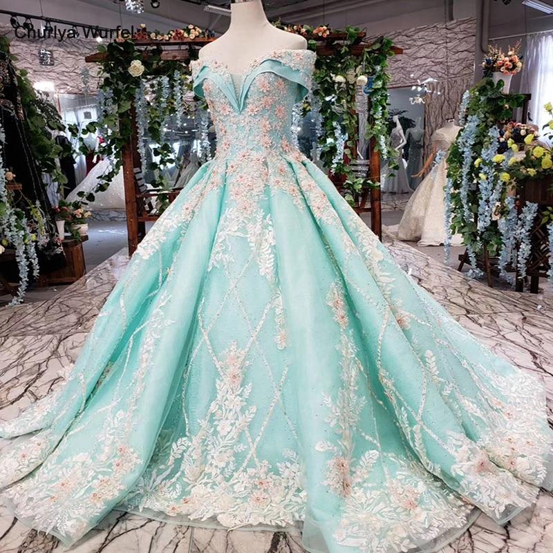 HTL154G1 Color Formal Dress Off Shoulder Sweetheart Applique Lace Evening Dress Long Bride Dress Party Kleider Damen Abendkleid
