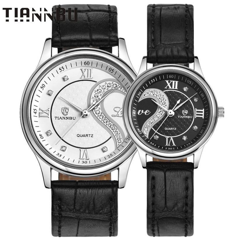 ФОТО Essential TIANNBU Wristwatch Bangle Bracelet 1 Pair/2pc Luxury Couple Quartz Watch Ultrathin Real Leather Romantic 17Tue25