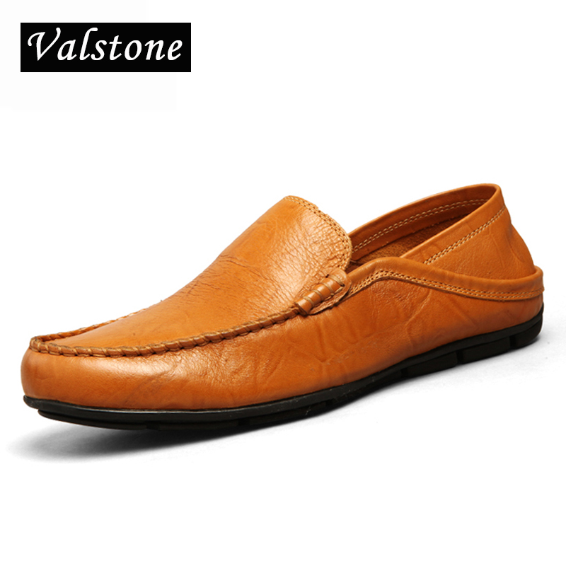 Valstone Superstar Men's casual driving shoes Slip-on light loafers 2018 summer leather soft moccasins flats black Plus size 46