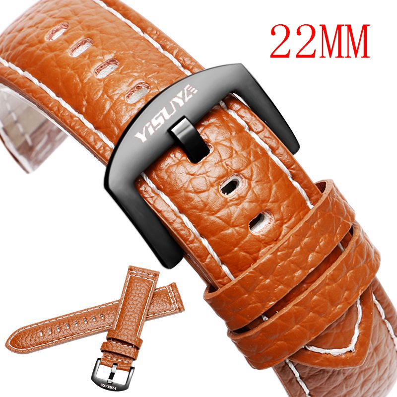 YISUYA 22mm Brown Grain Genuine Leather Strap Watchband Replacement Bracelet With Stainless Steel Pin Buckle Embossed Wrist Band men women leather strap genuine leather watchband with pin buckle bands croco grain bracelet for watch sized in 20 22 mm