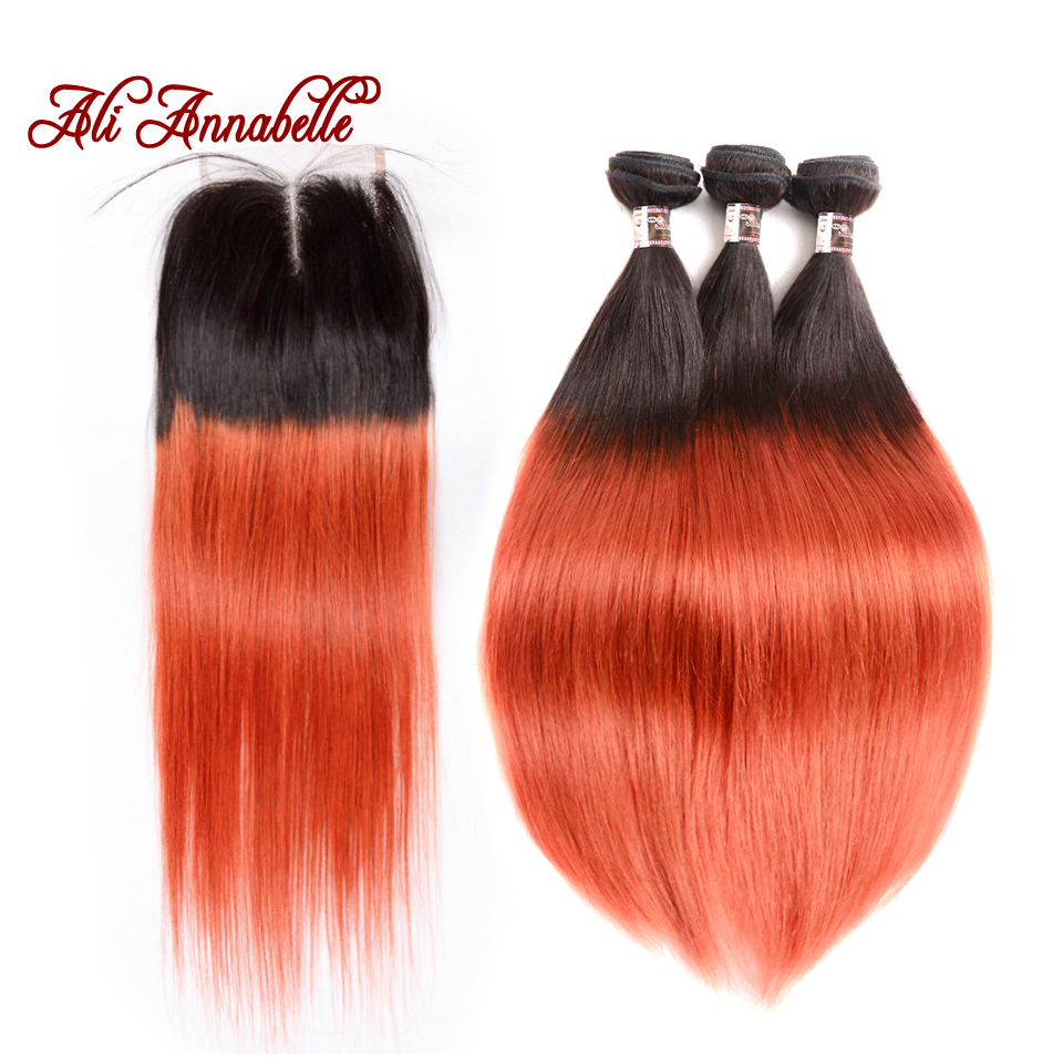 ALI ANNABELLE HAIR Brazilian Straight Ombre 1B 350 Golden Blonde Human Hair Bundles With Closure 3