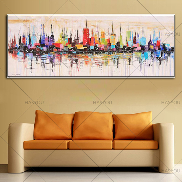 3f7495b27c1 Fashion Modern living room decorative oil painting handpainted large long  canvas picture Mirage city landscape ABSTRACT WALL ART