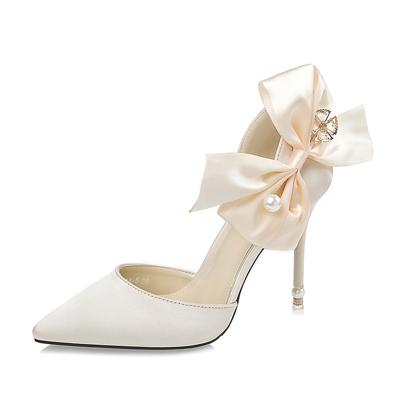 2017 Korean Fashion Pointed Toe Women Shoes Silk High Heels Shoes Ladies Sweet Bow Tie Sexy Pearl Sandals Women Wedding Shoes