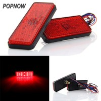 2 X Rectangle Reflector RED LED Rear Tail Brake Stop Light 1695