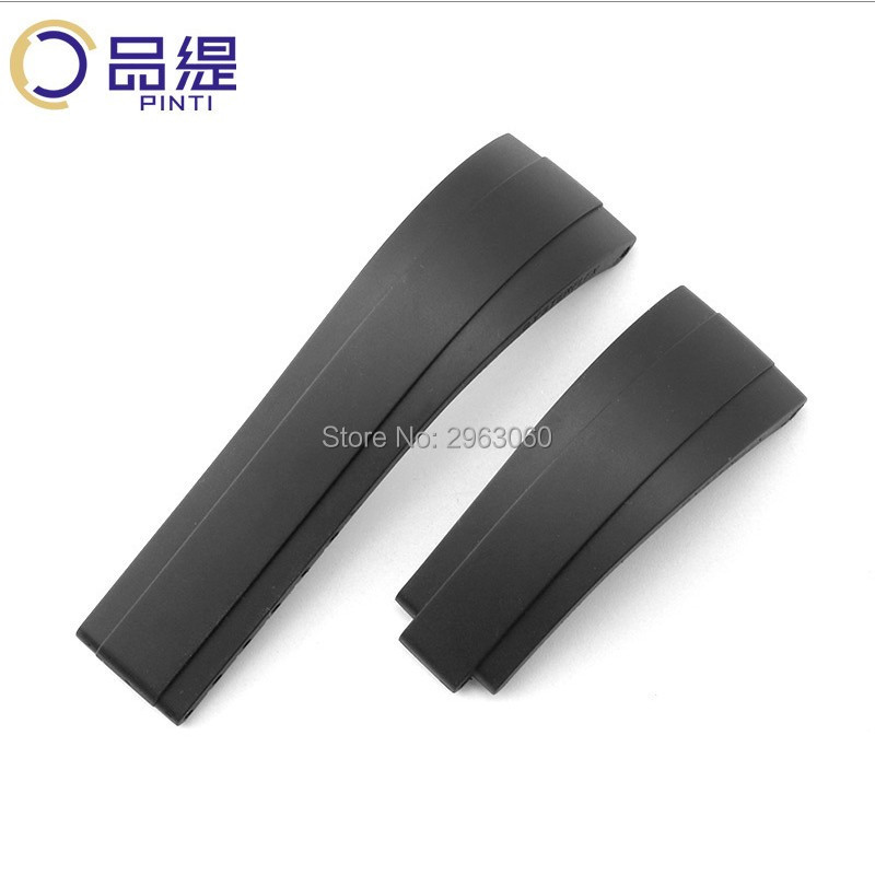 Top Grade Natural Silicone Rubber Watchband Original quality Black Strap without Buckle 20mm for RX Watch Free Shipping MEN-in Watchbands from Watches    1