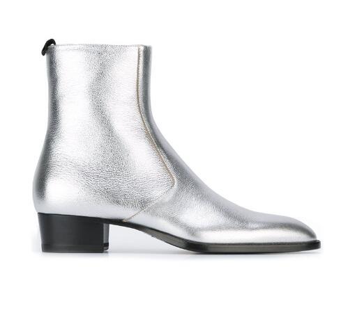 Metálico Plata Pic As Mujer La Calle as Oro Anke Zapatos Cuero Pic Apiladas Los Botas Grueso Tacón Genuino De Chelsea Hombres 4qRRdwpx