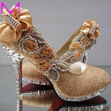 2016 Fashion Women High Heels Rhinestone Flower Women Shoes Bridal Wedding Shoes Sequined Cloth Red Bottom Crystal Party Pumps