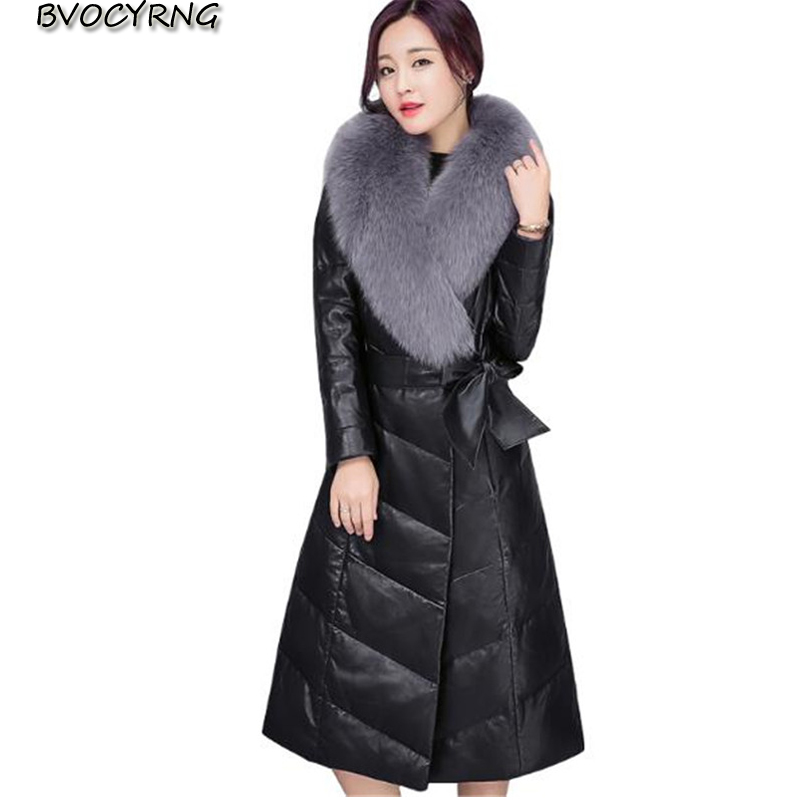 Hot 2018 Korean New Winter   Leather   Jacket Women Large Real Fur Collar Padded Down Coat Female Long   Leather   Outerwear A0655