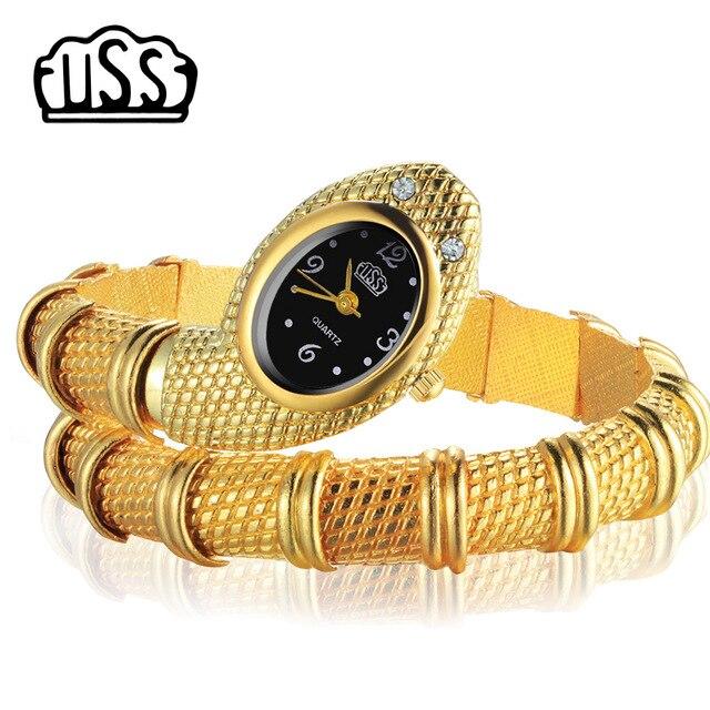 New CUSSI style Snake Shaped watch Fashion Watch bracelet watch unique Design Women dress watches Girl relogio feminino