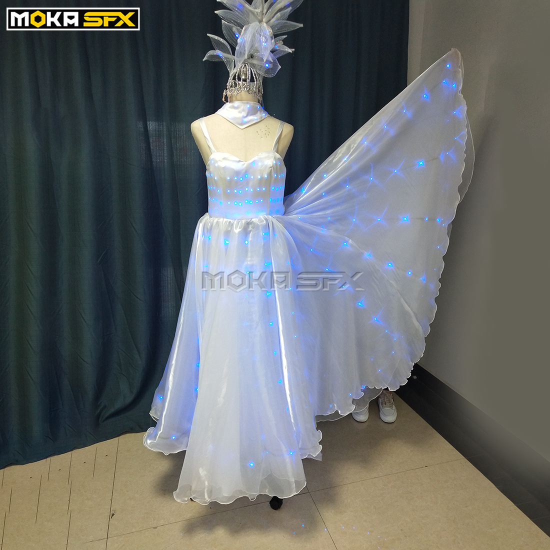 LED Robot Clothes Ballroom Dance Women Dresses Colorful LED Light Robot Luminous Suit For Nightclub Stage Show