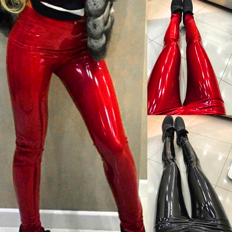 Women Pants High Waist Skinny Shiny PU Patent Leather Leggings Trousers Club Party Sexy Slim Fit Solid Red Black Fashion Pants